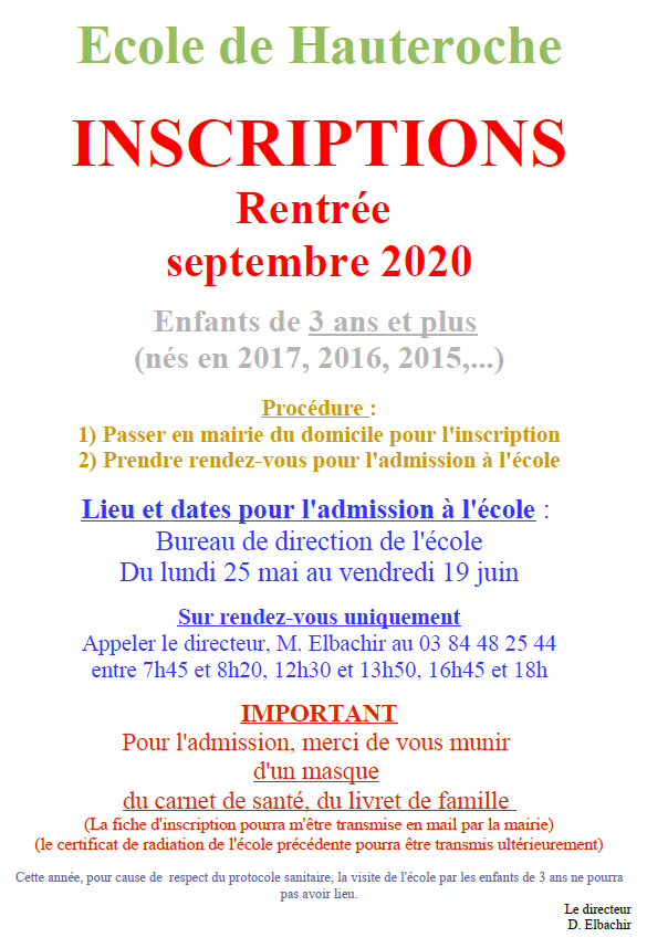 inscription ecole 2020